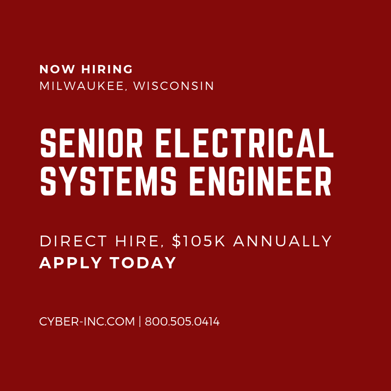 Senior Electrical Systems Engineer Wanted for Leadership Role onsite with iconic manufacturer in Milwaukee, Wisconsin. Apply today!