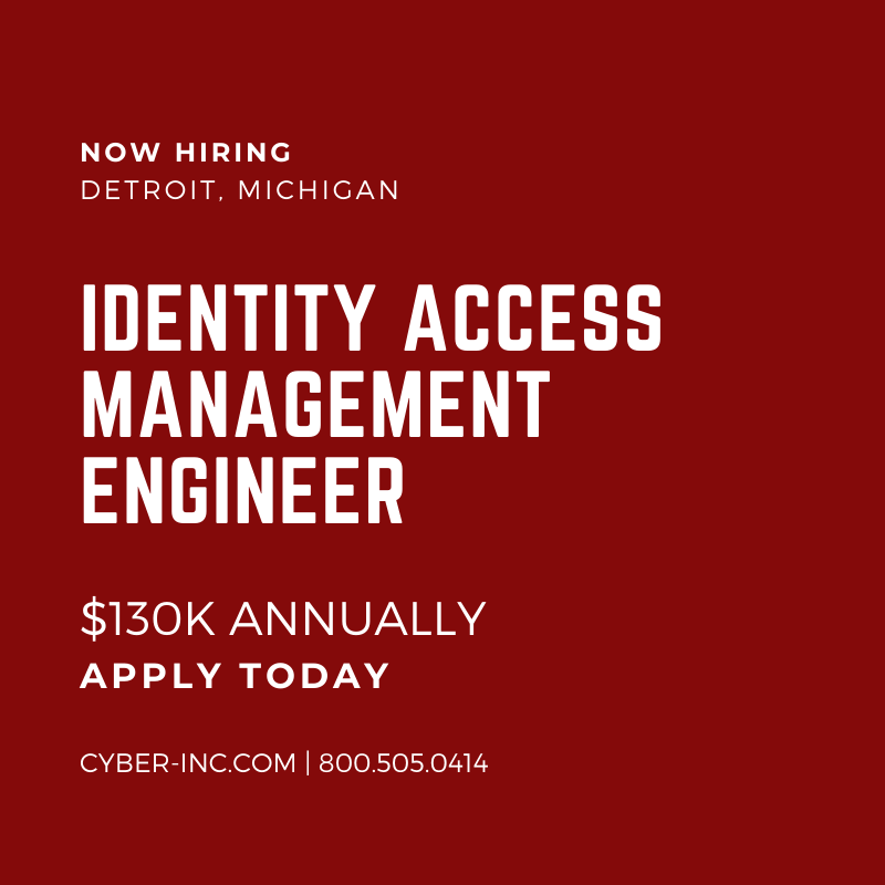 Identity Access Management (IAM) Engineer Detroit $130K