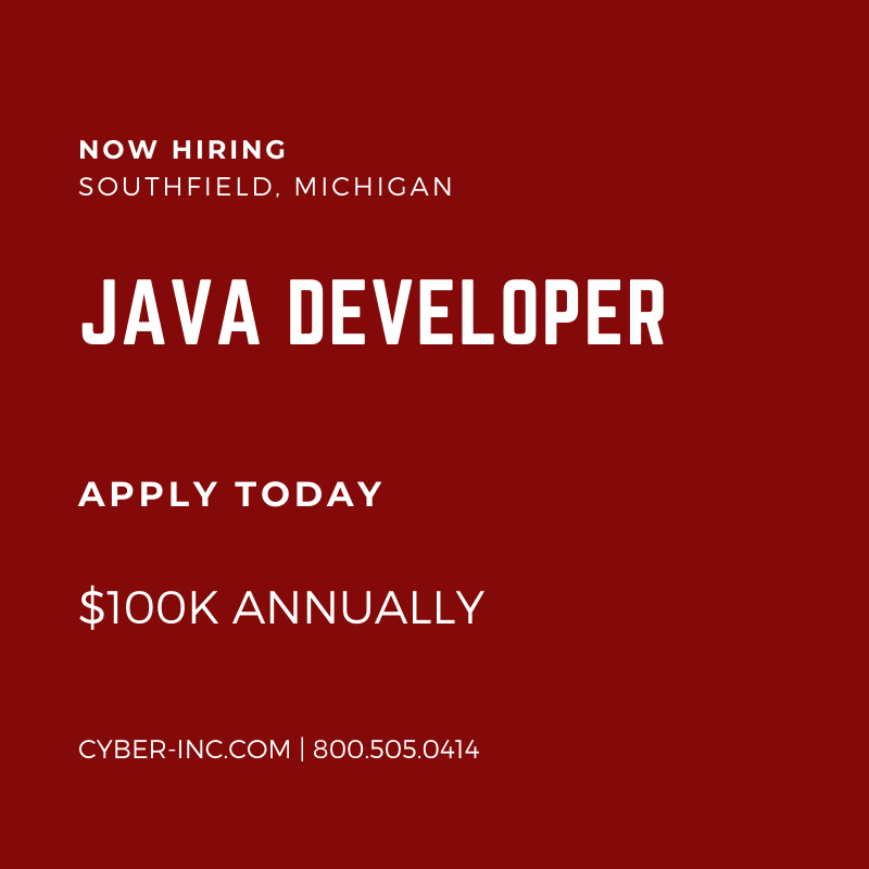 Java Developer Southfield MI $100K