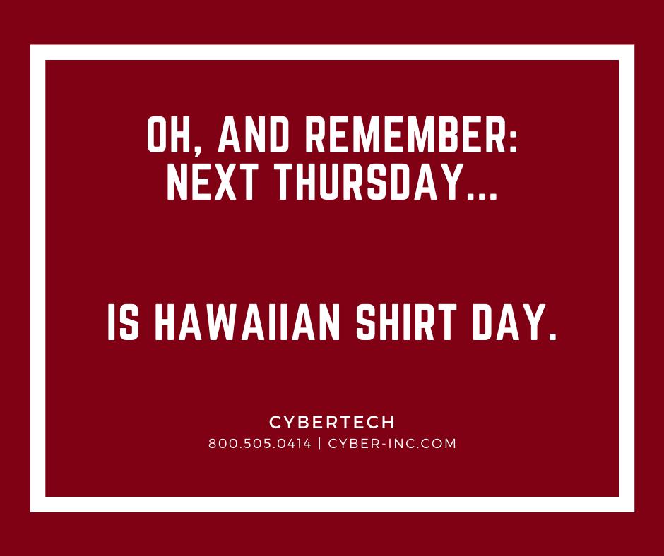 Friday Fun Hawaiian Shirt Day