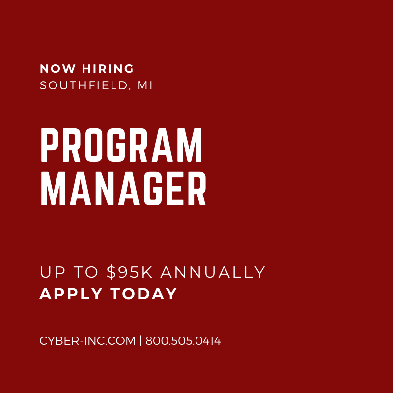 Program Manager Automotive Southfield MI $95K Annually