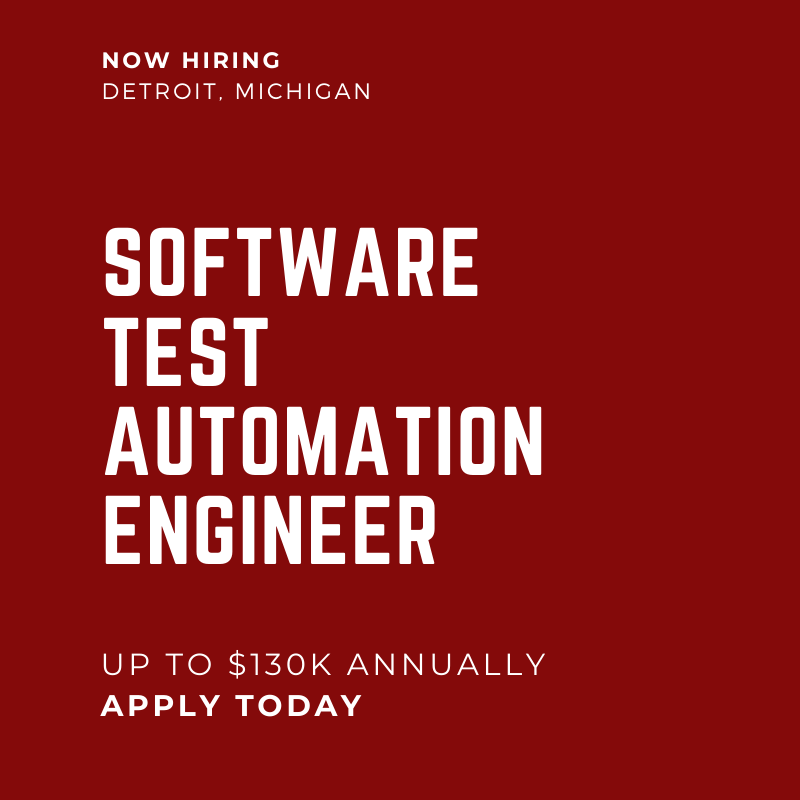 Software Test Automation Engineer Detroit MI 130K TOSCA Experience