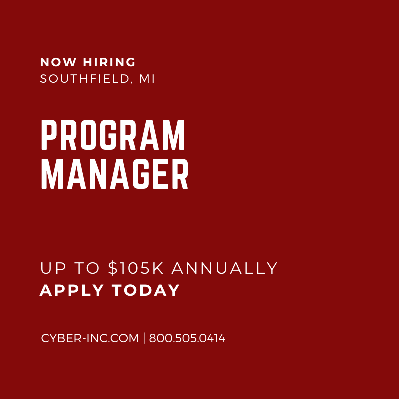 Program Manager Automotive Southfield MI 105K annually
