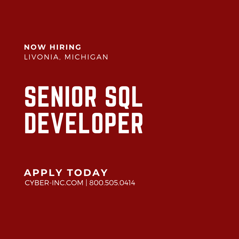 Senior SQL Developer Livonia MI