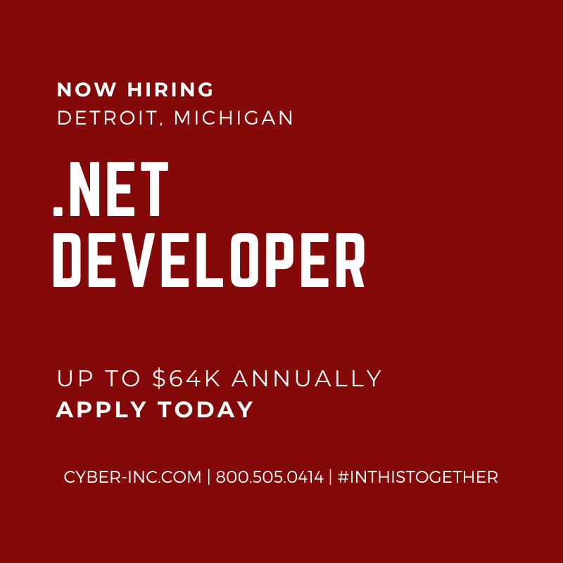 NET Developer Detroit MI Healthcare