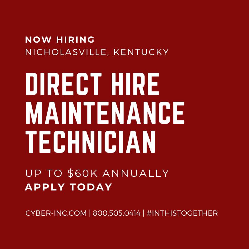 Maintenance Technician Direct Hire Nicholasville Kentucky