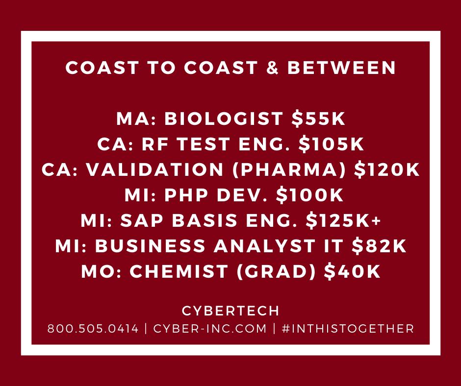 IT and Engineering Job Opportunities Coast to Coast & Between