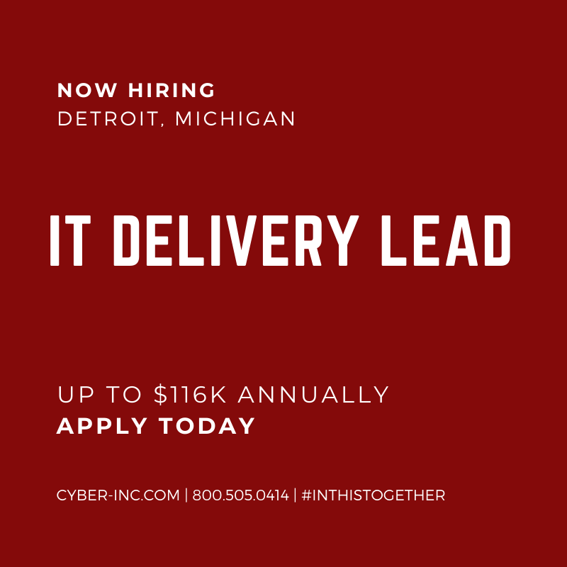 Information Technology Delivery Lead Job Opening Detroit