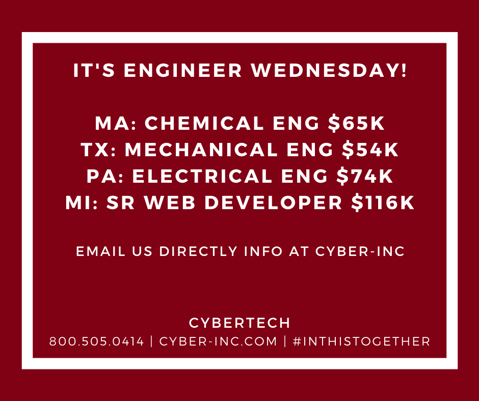 Engineer Wednesday Chemical Electrical Mechanical Software Needed